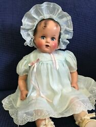 """Vtg 1940s New Wbox Ideal Baby Beautiful Miracle 34th St 16"""" Doll Rare Blue Dress"""