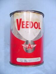 Vintage Veedol Flying A Grease Can 1 Lb Medium Red White Silver