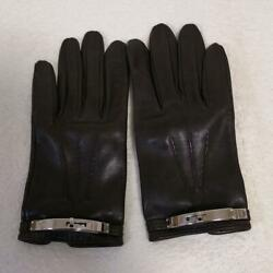 Hermes Leather Gloves Silver Fittings Free Shipping No.2011