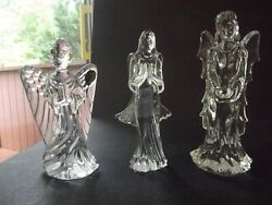 3 Angels Guardian Sculpture, Hope And Grace Figurines Waterford Glass Lead Crystal