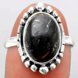Natural Nuummite 925 Sterling Silver Ring S.9 Jewelry 5432