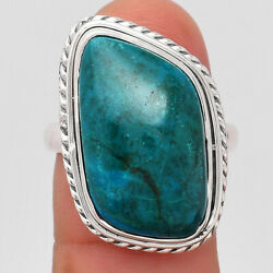 Natural Azurite Chrysocolla 925 Sterling Silver Ring S.8 Jewelry 5399
