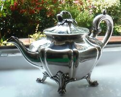 Early 1800s Old Sheffield Plate Ornate Teapot Fig Knop Roberts