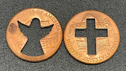 Lot Of 2 Lincoln Penny Cent Coins Cross And Angel
