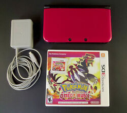 Nintendo 3ds Xl Red Black W/ Pokemon Omega Ruby + 4 Gb Sd Card Tested And Working