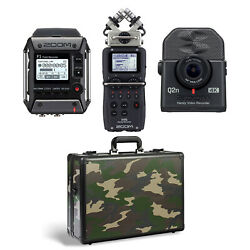 Zoom H5 And F1 Digital Audio Recorders Q2n4k Recorder 4k Camera And Case Camo
