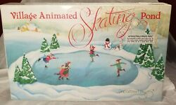 Department 56 Christmas Village Animated Skating Pond W/ Figures, Brand New
