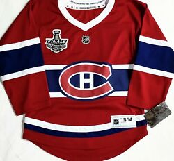 Youth-s/m Montreal Canadiens Nhl Premier 2021 Stanley Cup French Patch Jersey