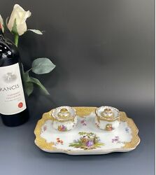 Antique Dresden Richard Klemm Porcelain Inkwells And Tray Depicting Courtship