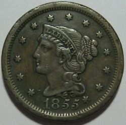 = 1855 Xf+ Knob On Ear Large Cent Free Shipping