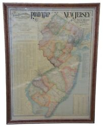 1903 Antique National Publishing Road Map Of New Jersey Geological Survey 48