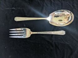 Vintage 8 Wm Rogers Aa And Is Silverplate Serving Spoon And Fork