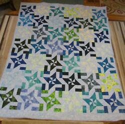 Usa Handmade Full Size Quilt- Disappearing Windmill Patchwork - 66 X 85 Blues