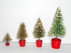 Vintage Christmas Putz Bottle Brush Trees 4 Sizes In Turned Wood Pots Red Japan
