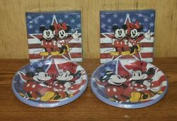 New Disney Mickey And Minnie Mouse Usa Set Of Plates And Napkins - 4th Of July Labor