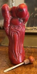 19c Chinese Red Coral Carved Carving Snuff Bottle Shou Lao - Wise Old Man Peach