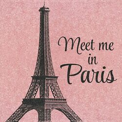 Meet Me In Paris 12x12 Wrapped Canvas Wall Art Decor French Eiffel Tower Picture