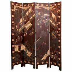 Antique Chinese Carved Polychrome 4 Panel Dressing Screen, Circa 1920