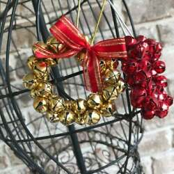 Jingle Bell Wreath Ornaments Christmas Gift Set Of 2 Red Gold Color Retro