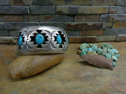 84g Stunning Navajo Shadow Box 5 Kingman Turquoise Sterling Cuff Native Old Pawn