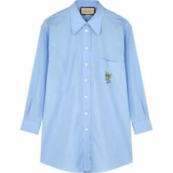 Womenand039s Blouse Shirt Tops Light Blue Embroidered Cotton-poplin No.4938