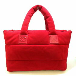 Cococo Mm Tote Bag Reversible Red Dark Navy Cotton Jersey No.1620