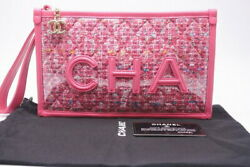 Used 19ss Tweed Vinyl Razor Clutch Pouch Bag Pink Seal With No.2421