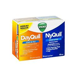 Vicks Dayquil - Nyquil Cold - Flu Combo Pack Liquicaps 48 Ct Pack Of 9