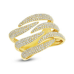Womens 0.93ct 14k Yellow Gold Diamond Pave Cocktail Open Bridge Claw Ring