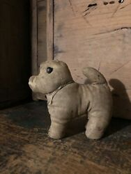 Antique Primitive Childand039s Hand Made Amish Stuffed Toy Dog