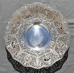 Gorgeous Big Spanish Sterling Silver Dish Bowl With Angle Flowers