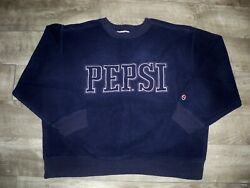 Vintage Pepsi Sweatshirt Blue Mens Size Xlarge Pullover Fleece Sweater Spell Out