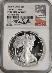 2014-w Silver Eagle Ngc Pf 70 Ultra Cameo Early Releases Mike Castle Signed