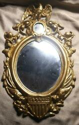 Old Vintage Cast Brass American Eagle Mirror Picture Frame Civil War Patent Date