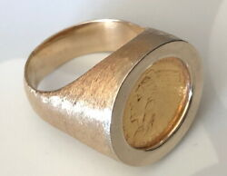 1913 2.50 Gold 14 And 22kt Gold Ring 30.1 Grams-size 12+ - Stylish Rare Historic