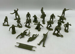 Vintage Marx Navarone Playset Green Soldiers Lot Of 20 And Stretcher Htf Figures