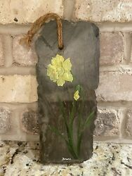 Beautiful Hand Painted Yellow Daffodil Hanging On Dark Gray Slate Slab - Unique
