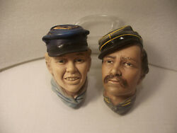 Vintage Bossons Chalkware Lot Of Two Civil War Soldier Head Figures