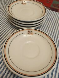 Vintage Warwick China 1941 Saucers Demoulin Bros. Greenville Il Lot Of 5