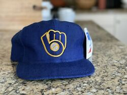 Vintage 80s 90s Sports Specialties Milwaukee Brewers Mlb Wool Snapback Hat Ds