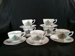 Vintage Lefton Christmas Tree Footed Cup And Saucer 1298 7 Cups And Saucers
