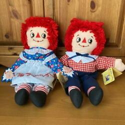 Raggedy Ann And Andy Rare Pair Plush Toy Doll Askance Embroidery No.2213