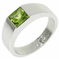 Tank Ring Peridot 53 K18 White Gold Women And039s Previously Owned No.4081
