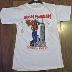 Iron Maiden Official Vintage Rare Tour T-shirt Beast New York 1982 Fully Signed
