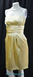 David's Bridal 83707 Satin Strapless Dress Ruching Knee Gown Pockets Size 4 New