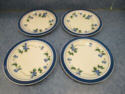 Lot Of 4 Ll Bean Blueberry Dinner Plates Euc Discontinued