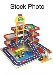 Wooden Toy Garage By First Learning - New - Gas Station - Car Wash - Vehicles