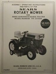 Sears Suburban Lawn Garden Tractor Mower Owner And Parts Manual 917.251030 Ss/12