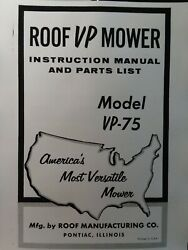 Roof Mfg Walk-behind Vp-75 Brush Lawn Garden Tractor Mower Owner And Parts Manual