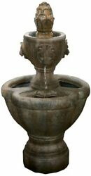 Outdoor Water Fountain 2 Tier Lion Head Fountain With Natural Looking Stone A...